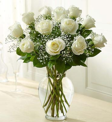 Rose Elegance Long Stem White Roses