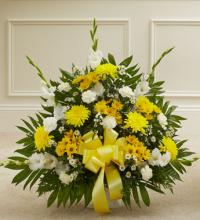 Yellow and White Tribute Basket Arrangement