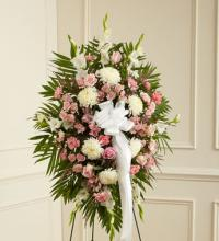 Deepest Sympathies Standing Spray-Pink  & White