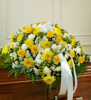 Yellow and White Half Casket Cover